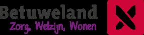 Betuweland logo is opgebouwd uit een rood vlak met een kruis. De tekst is zwart met paars onderschrift