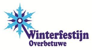 Winterfestijn logo zijn een lichtblauwe ijsster en een donkerblauwe ijsster die verbonden zijn met het woord Winterfestijn. Daaronder staat Overbetuwe